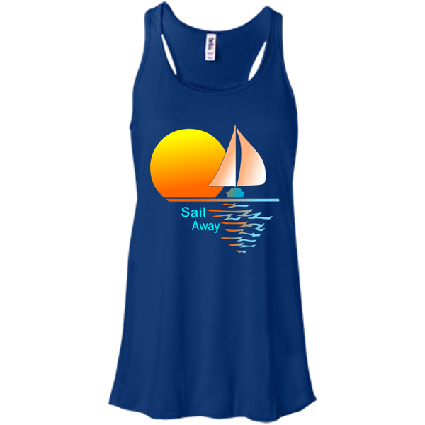 Sail Away on Bella+Canvas Flowy Racerback Tank