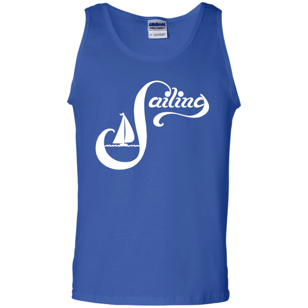 Sailing White on 100% Cotton Tank Top