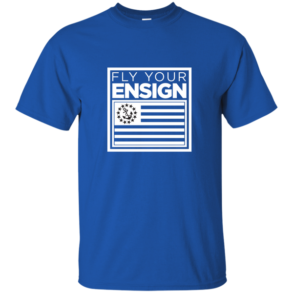 """Know Your Boat"" – Ensign - White on Dark Custom Ultra Cotton T-Shirt"