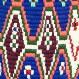 Close-up view of a large and colourful vintage berber bread basket