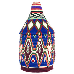 Front view of a large and colourful vintage berber bread basket