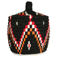 Front view of a colourful berber bread basket