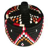 Top view of a colourful berber bread basket
