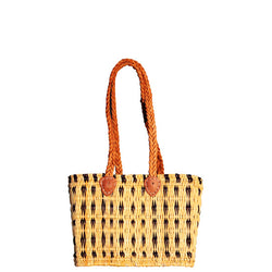 Front view of a small sized, rectangular, flat based Moroccan shopping basket handmade with woven palm fibres and long plaited leather handles