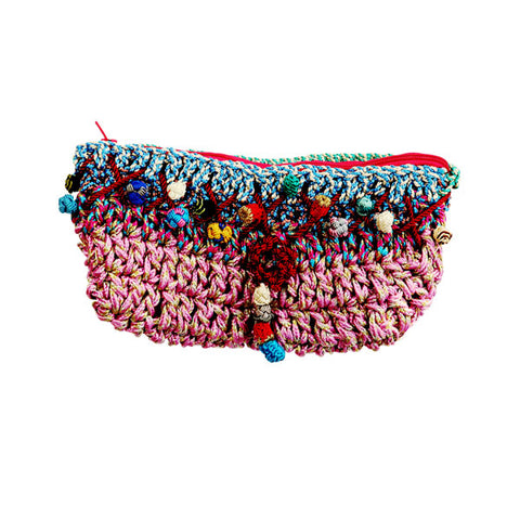 front view of a multicoloured Moroccan clutch bag handmade using sabra silk embroidery threads with a shocking pink lining and zip closure