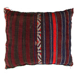 back view of a multicoloured, handmade, geometrically patterned vintage Moroccan wool cushion