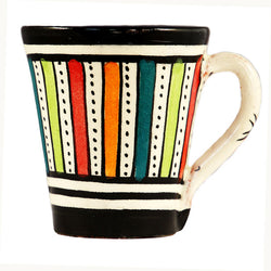Front view of a small ceramic Moroccan mug ideal for espresso, multi-coloured stripes with black rim