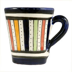Front view of a small ceramic Moroccan mug ideal for espresso, multi-coloured stripes with dark blue rim