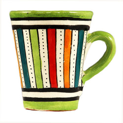 front view of a small ceramic Moroccan mug ideal for espresso, multi-coloured stripes with green rim