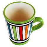 Top view of a small ceramic Moroccan mug ideal for espresso, multi-coloured stripes with green rim