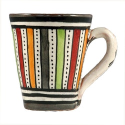 Front view of a small ceramic Moroccan mug ideal for espresso, multi-coloured stripes with grey rim