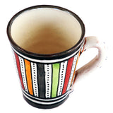 Top view of a small ceramic Moroccan mug ideal for espresso, multi-coloured stripes with grey rim