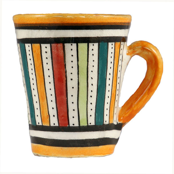 Front view of a small ceramic Moroccan mug ideal for espresso, multi-coloured stripes with orange rim