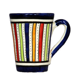 front view of a medium sized ceramic Moroccan mug, multi-coloured stripes with dark blue rim and handle
