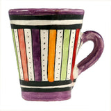 Front view of a small ceramic Moroccan mug ideal for espresso, multi-coloured stripes with purple rim