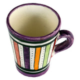 Top view of a small ceramic Moroccan mug ideal for espresso, multi-coloured stripes with purple rim