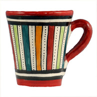 Front view of a small ceramic Moroccan mug ideal for espresso, multi-coloured stripes with red rim