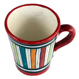 Top view of a small ceramic Moroccan mug ideal for espresso, multi-coloured stripes with red rim
