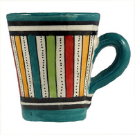 Front view of a small ceramic Moroccan mug ideal for espresso, multi-coloured stripes with teal green rim