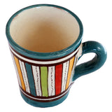 Top view of a small ceramic Moroccan mug ideal for espresso, multi-coloured stripes with teal green rim