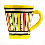 Front view of a small ceramic Moroccan mug ideal for espresso, multi-coloured stripes with yellow rim