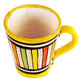 Top view of a small ceramic Moroccan mug ideal for espresso, multi-coloured stripes with yellow rim