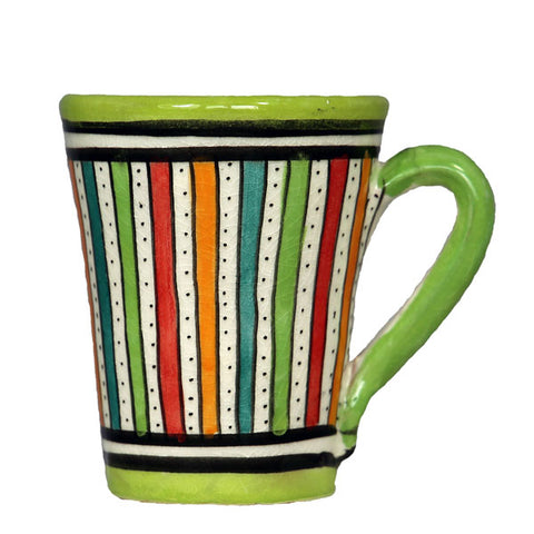 Front view of a medium sized ceramic Moroccan mug, multi-coloured stripes with green rim and handle