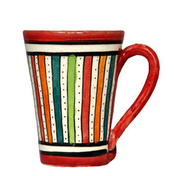 Front view of a medium sized ceramic Moroccan mug, multi-coloured stripes with red rim and handle