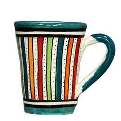 Front view of a medium sized ceramic Moroccan mug, multi-coloured stripes with teal green rim and handle