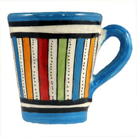 Front view of a small ceramic Moroccan mug ideal for espresso, multi-coloured stripes with turquoise rim