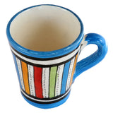 Top view of a small ceramic Moroccan mug ideal for espresso, multi-coloured stripes with turquoise rim