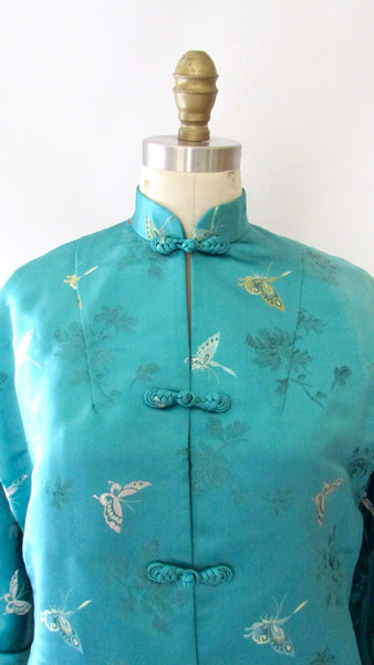 CITY OF SHANGHAI 50s Silk Butterfly Brocade Chinese Jacket, Size Small