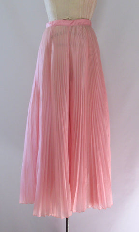 SHEER MAGIC 70s Pink Pleated Organza Palazzo Pants, Small