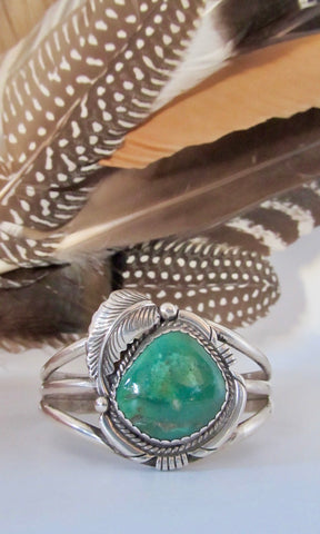 FINE FEATHER 70s Navajo Silver & Green Royston Turquoise Cuff