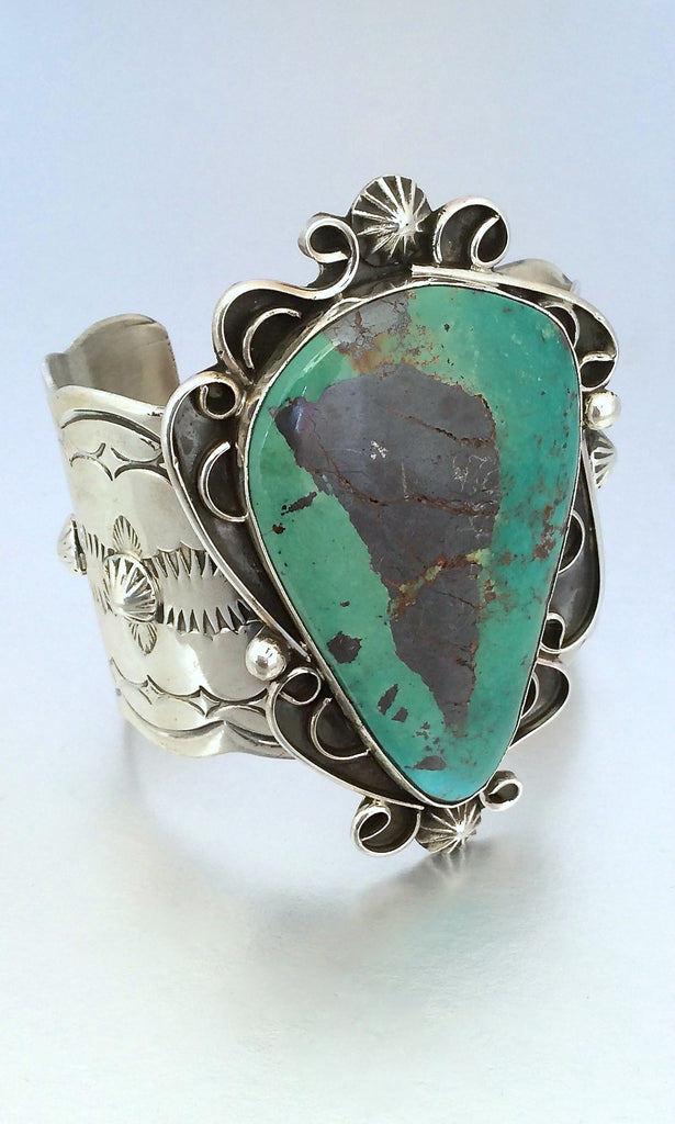 Huge CHIMNEY BUTTE Sterling Silver & Turquoise Cuff