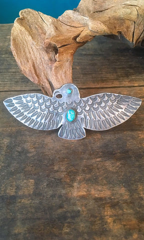 BIG BIRD 1940s Large 30g Fred Harvey Era Silver & Turquoise Thunderbird Pin