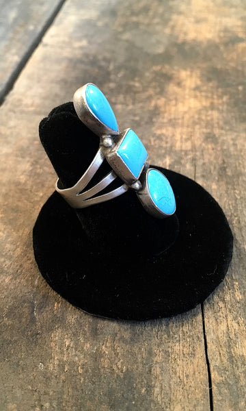 THREE'S COMPANY Vintage Style Turquoise Geometric Stacked Ring,  Sz 7