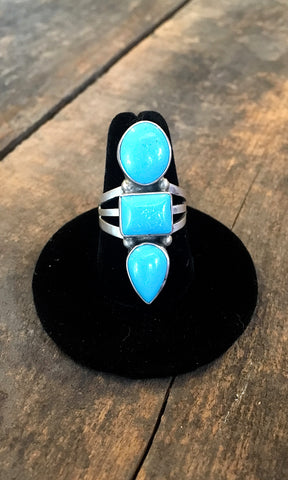 STACKED SHAPES Vintage Style Turquoise Stacked Ring, Sz 8,9