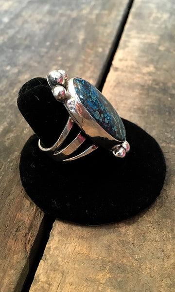 FEELING BLUE Chimney Butte Sterling Silver & Bisbee Turquoise Ring, Size 9