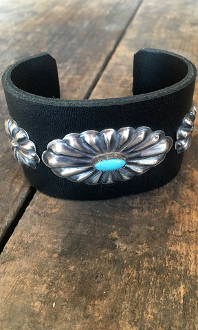 CONCHO CUFF 1970s Style Navajo Turquoise Concho Style Leather Cuff