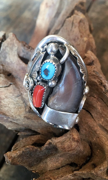 RING IT ON Vintage Style Navajo Silver Ring with Handcrafted Badger Claw, Sz 11