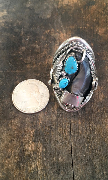 MAKE A STATEMENT Navajo Turquoise Silver Ring with Handcrafted Badger Claw, Sz 11.5