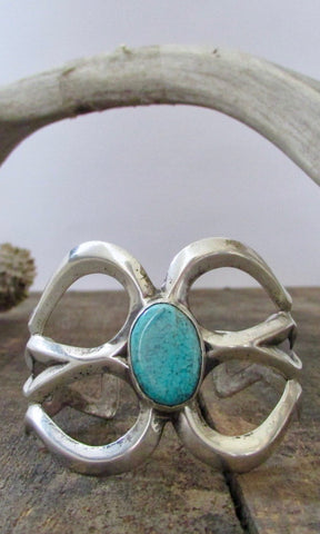 SANDCAST SILVER & Turquoise 60s 70s Navajo Cuff / Bracelet