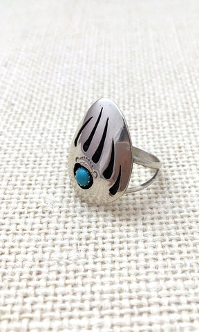 BEAR PAW Native American Shadowbox Claw Silver & Turquoise Ring