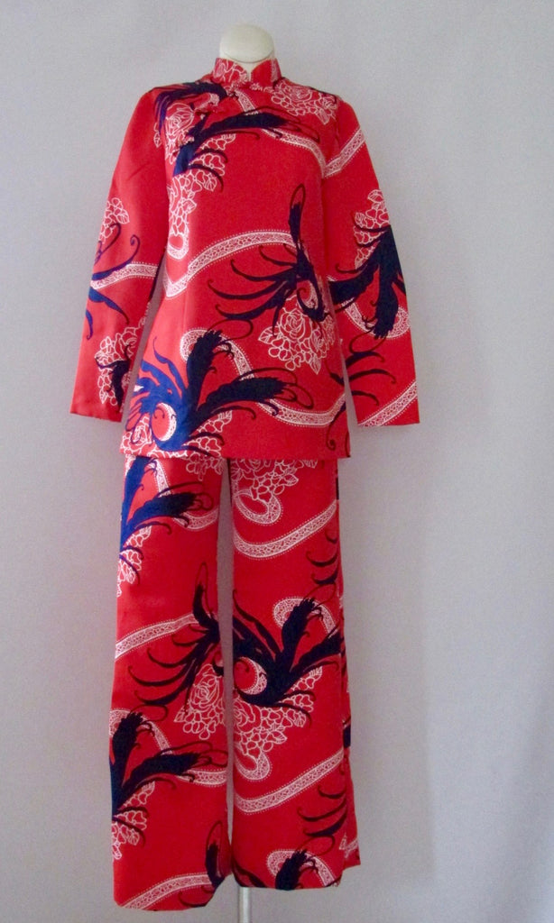 SUN FASHIONS OF HAWAII 60s Blouse & Pant Asian-esque Set, Size Small
