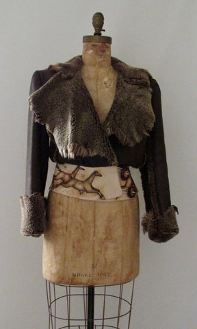 WARM & FUZZY Leather Shearling Jacket, Small