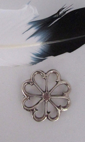 SANDCAST FLOWER Vintage 70s Silver Wheel Floral Brooch / Pin, Native American Navajo