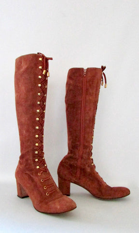 HERBERT LEVINE 60s Rust Suede Lace up Hippie Granny Boots, Size 8 - 8 1/2