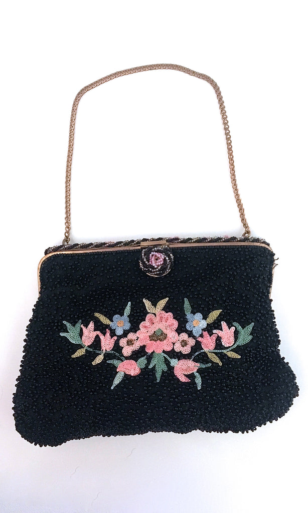 LE PETIT JARDIN 1950s Black Beaded & Floral Embroidered Purse