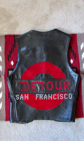 DETOUR SAN FRANCISCO 90s Leather Studded Vest, Mens Size Small